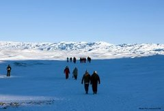 Hiking on Greenland Inland Ice Cap